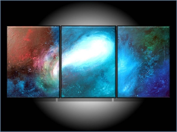 Art Sale. Great Savings. MODERN ABSTRACT ART. ORIGINAL PAINTING. 24 X 54, LARGE PAINTING. TEXTURED PAINTING. DEEP SPACE PAINTING. TITLE SHOOTING STAR. by RenaeSchoeffelArt