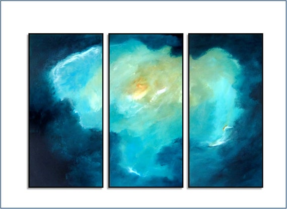 "Large Turquoise Blue Landscape Abstract. Original Painting. ""Sound of Silence"" by R Schoeffel"