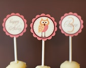 Owl Party Cupcake Topper JPEG