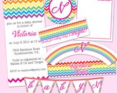 Rainbow Chevron Party Pack JPEG (Invitation, Cupcake Topper and Wrapper, Water Bottle Label, Thank You Notes, Treat Bags, Banner)