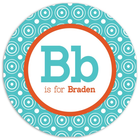Personalized Melamine Plate (Custom with Name, Initials and Colors)