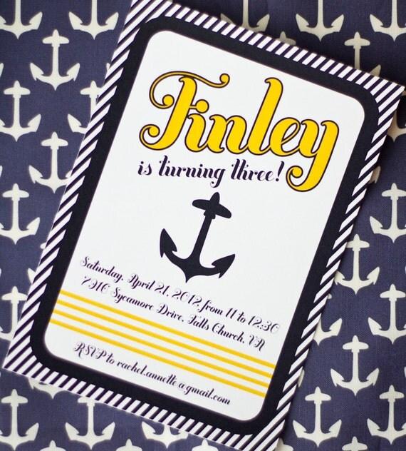 Nautical Sailboat Birthday or Baby Shower Invitation JPEG