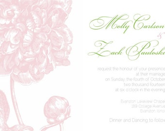 Vintage Wedding Invitation Peony Wedding Invitation