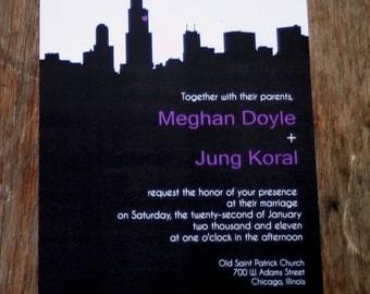 Modern Wedding Invitations,Chicago Skyline Wedding Invitation,NYC skyline wedding invite,San Francisco Wedding Invite,Custom City Invitation
