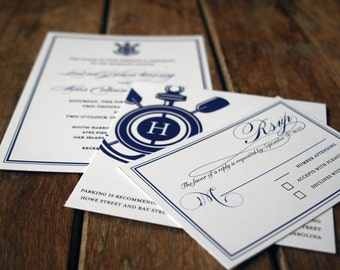 Modern Vintage Nautical Wedding Invitations,Anchor Wedding Invitation,Anchor monogram wedding invitation,Preppy wedding invites,Yacht invite