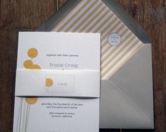 Modern Wedding Invitation Digital File,Craspedia Flower Wedding Invitation Printable,Billy Ball Wedding Invitation Digital Download