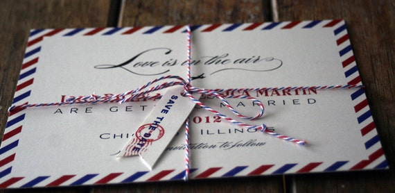 Airmail Wedding Invitations: Vintage Air Mail Save The Date Air Mail Wedding By