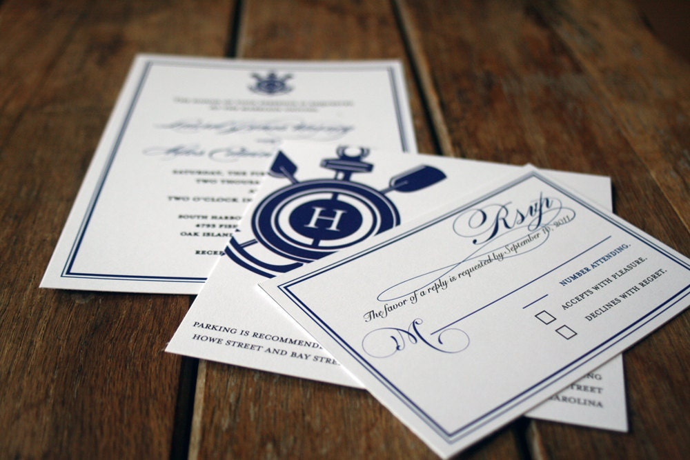 modern vintage nautical wedding invitationsanchor wedding, Wedding invitations