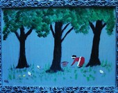 reduced 1/2 price Lady Picking Up Pecans outsider folk art Painting by NitA