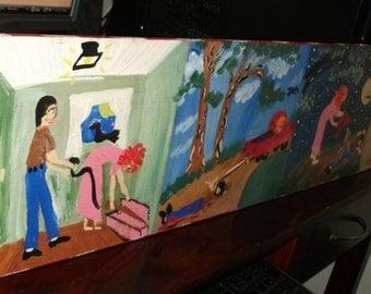Prison Art -Claudia-Original folk art painting by NitA marked 1/2 off