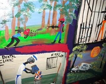 PRISON ART-Donald-original folk art painting by NitA
