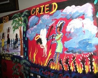 Prison Art- 20 X 24 -original folk art painting by NitA Marked 1/2 Off sale