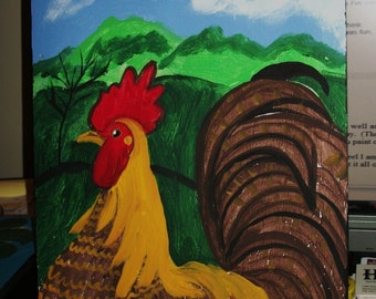 ROOSTER  in the mountains original painting by NitA