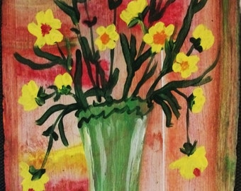 Flowers in Green Fiesta Vase original painting Marked 1/2 off sale