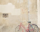 Bicycle photograph, Bike in Firenze - 5 x 5 fine art photography print - bicycle, Florence, red, street art, travel, home decor