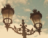 Barcelona photography - original fine art photography print - lamps city art blue sky wall art travel photo