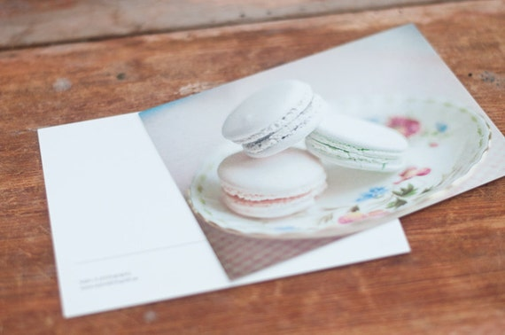 Macarons, fine art photography postcard set, 4x6, dreamy, sweets. romantic, vintage, pink, mint, minty, green, purple