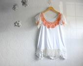 Shabby Chic Top Women's Clothing Peach White Shirt Upcycled Lace Tunic Medium Large 'MIRANDA'