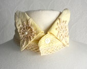 Yellow Shabby Chic Collar Choker Necklace Upcycled Lace Crochet