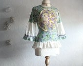 Mint Green Shabby Chic Top Upcycled Women's Clothing Purple Bohemian Bell Sleeves Small 'BETH-ANNE'