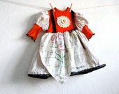 Girl's Red Apron Dress 18 Months Shabby Chic Children's Clothing Cream Lace Baby Clothes Vintage Fabric Eco Friendly 'EUGENIA'