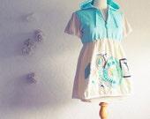 Shabby Chic Top Seafoam Cream Babydoll Hoodie Lace Upcycled Women's Clothing Small Medium 'STEPHANIE'