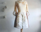Shabby Chic Dress Brown Beige Women's Upcycled Clothing Tattered Bell Sleeves Bohemian Lace Large 'VERONIQUE'