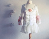 Shabby Chic Cream Top Upcycled Lace Shirt Ladies Clothing Peach Floral Bell Sleeves Medium 'DANIELLA'
