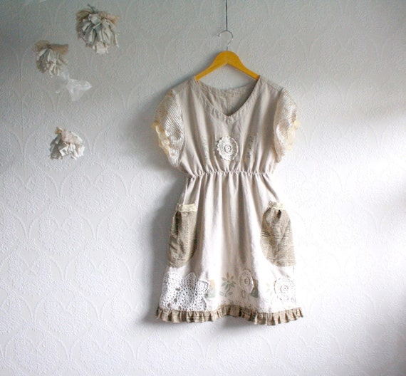 Shabby Chic Dress Linen Upcycled Clothing Women's Medium Clothes Babydoll Beige Newsprint Lace Doily Eco Fashion 'BETHENNY'