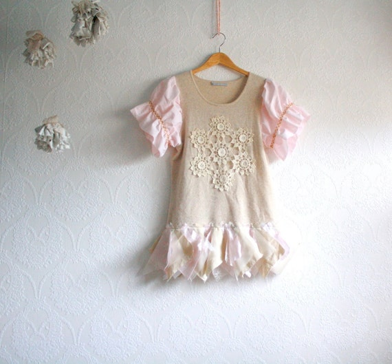 Cashmere Sweater Upcycled Women's Clothing Beige Pink Lace Tunic Medium Eco Fashion Tattered Recycled 'ELSBETH'