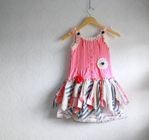 Toddler Girl's Fairy Dress 5T Shabby Chic Upcycled Children's Clothing Tattered Pixie Pink Navy Blue Lace Ruffles 'ALEXIS'