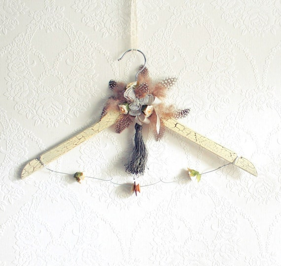 Shabby Chic Ivory Wedding Dress Hanger Bridal Gown Hanger Brown Feathers Rustic Finish Vintage Inspired