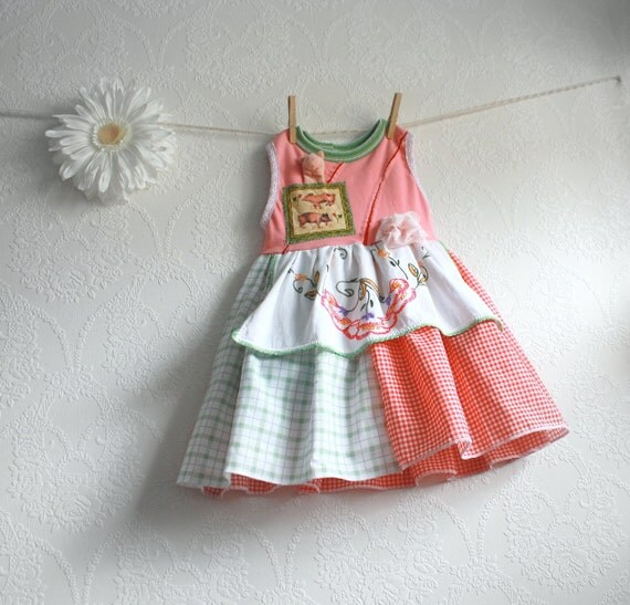 Farmhouse Toddler Dress 2T Girl's Red Gingham Jumper Upcycled Shabby Chic Clothes Children's Clothing Pink Pigs Apron 'STELLA'