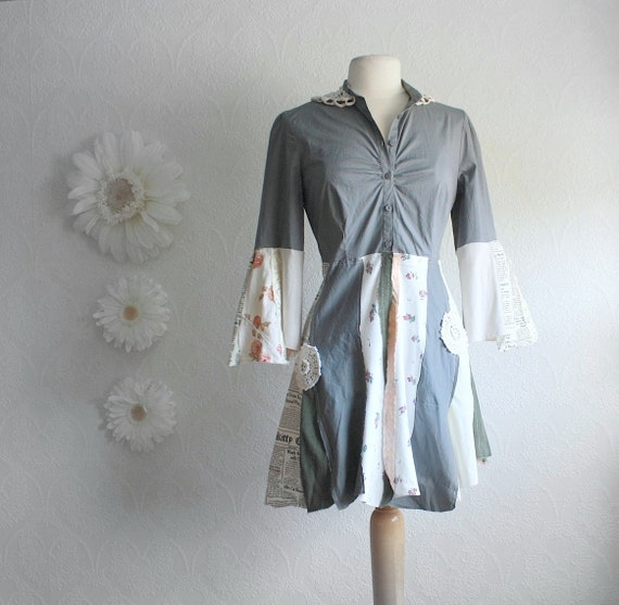 Women's Gray Tattered Long Top Shabby Chic Mini Dress Bell Sleeves Upcycled Clothing Eco Fashion Shirt Small Medium 'LEENA'