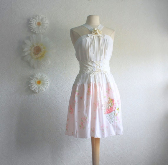 Shabby Chic Pink White Dress Cream Corset Belt Women's Sundress Upcycled Clothing Eco Fashion Small Medium 'MARILU'