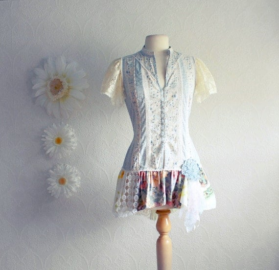 Blue Floral Country Top Women's Shabby Chic Clothing Cream Upcycled Shirt Prairie Clothes Eco Fashion Medium 'AMELIA'