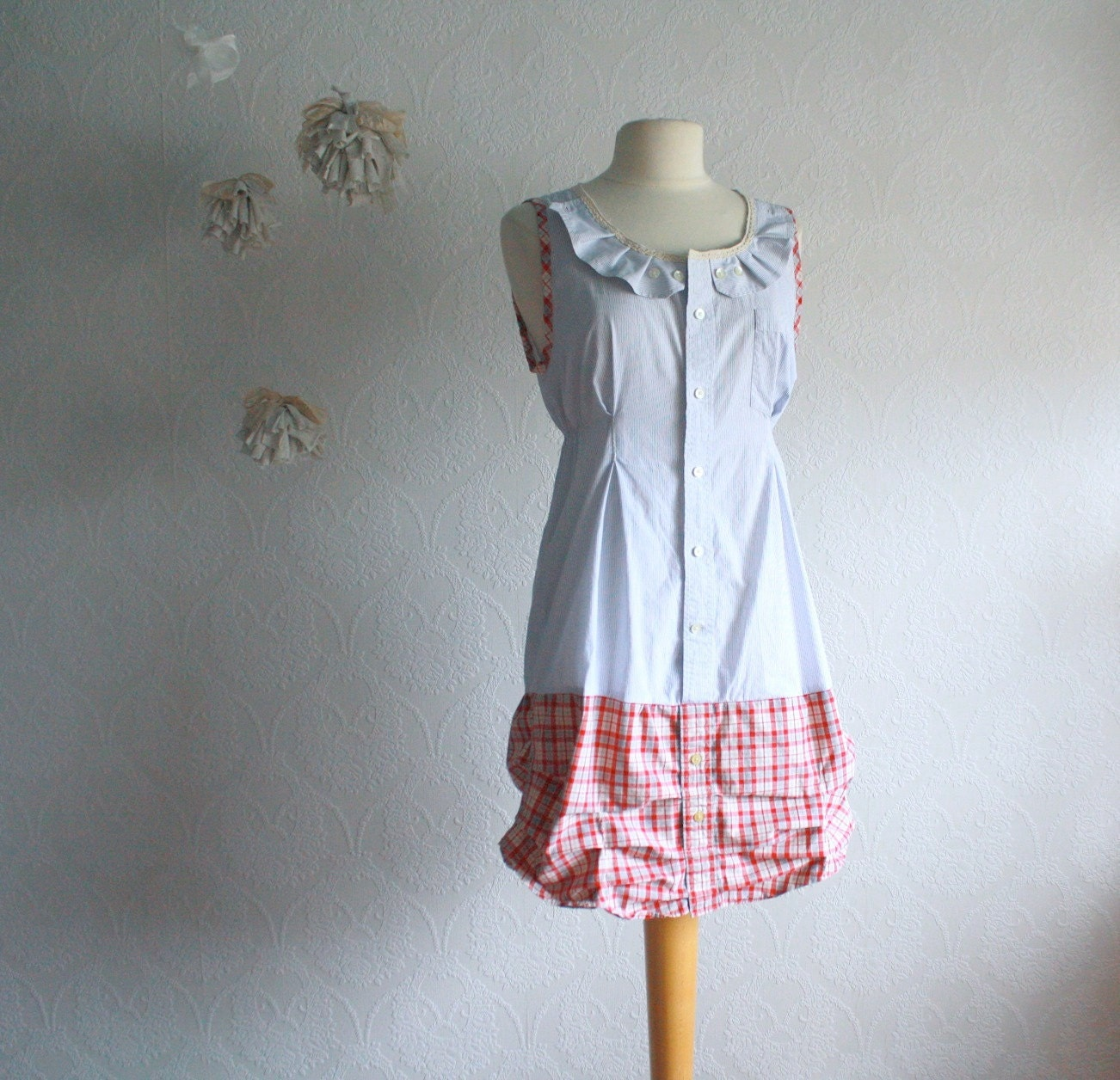 Women's Clothing Shabby Chic Dress Blue Red Plaid Upcycled