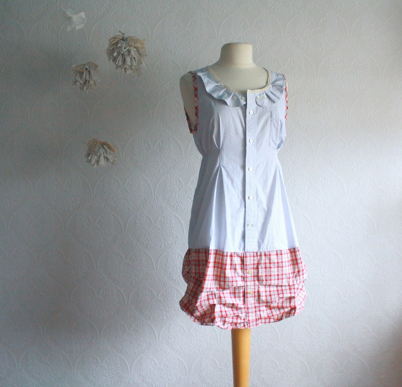 s clothing shabby chic dress blue plaid upcycled