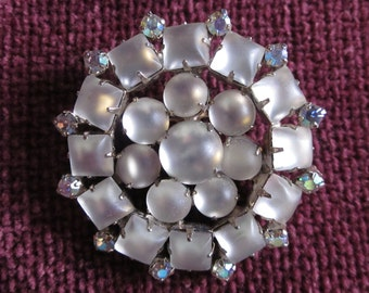 Icing on the Cake Vintage Frosted Glass Bead Brooch with AB Rhinestones