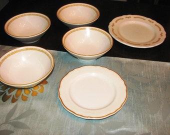Vintage Homer Laughlin 70s Restaurant Ware Set of 4 Bowls 2 Plates Gold Border