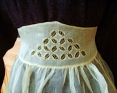 Vintage Apron Hand Cut Work Lace Sheer Yellow MINT Classic 1950's - tea500
