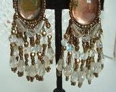 Vintage Chandelier Drop Dangle Copper and Crystal Beads Large Mirror Agate Glass Cabochon  Handsewn Beaded Long Earrings 1980
