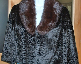 Vintage Faux Persian Lamb Goucho Jacket w/ Real Black Mink Collar Elegant Great Condition