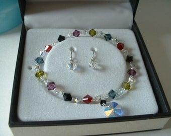 Swarovski Crystal HEART Bracelet & Earring Set in Box Sterling Silver with Heart and Drop Earrings