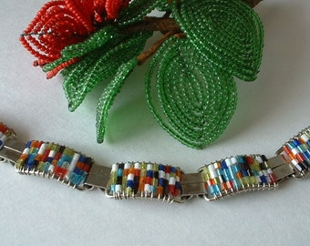 Multi Beaded Multi Colored Beaded Bracelet Boho Vintage Silver Handwired HAPPY BRACELET
