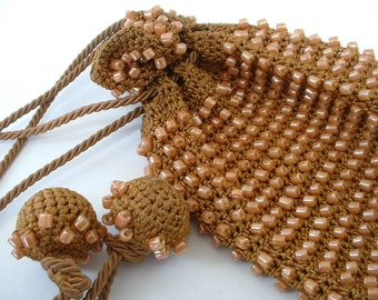 Vintage Glass Beaded French Purse Crochet Draw String Pouch Mint Condition LOVE LOVE