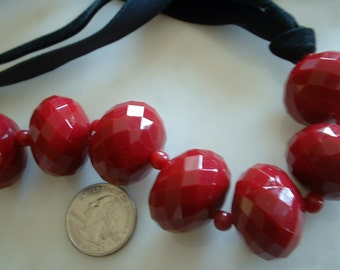 LUCITE Necklace Ruby Red Faceted Large Bead Necklace on Black Velvet