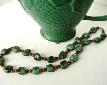 Vintage Fench Green Agate Glass Bead  Necklace with Metallic Copper Gold Nugget Beads