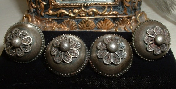 Antique Denmark Sterling Silver Domed Ear and Pin Brooch Set Demi Parure