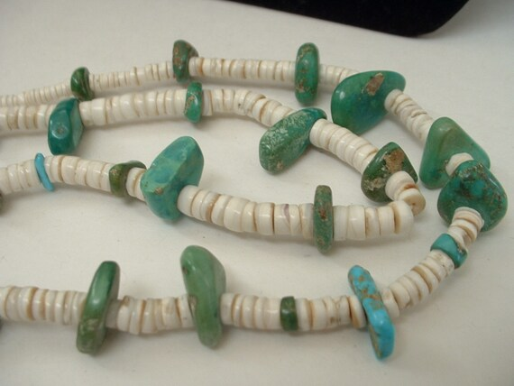 Antique Rare Native American Pueblo  Turqouise Heishe Hierloom Necklace Indian Wrapped 1940's